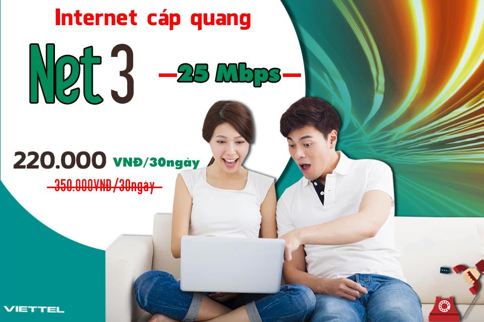 Gói Cước internet Cáp Quang Viettel Net 3 (25Mbps)