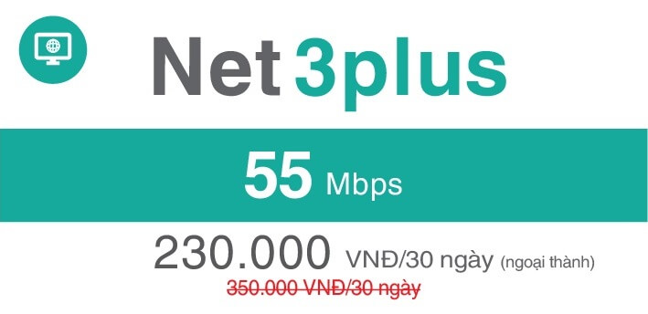 Gói Cước internet Cáp Quang Viettel NET3 PLUS (Ngọai Thành)