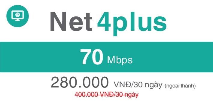 Gói Cước internet Cáp Quang Viettel NET4 PLUS (Ngoại Thành)
