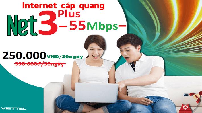 Gói Cước internet Cáp Quang Viettel NET3 PLUS (55Mbps)